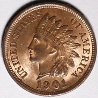 1901 INDIAN HEAD CENT - BU UNC -With CARTWHEELING LUSTER & REPUNCHED DATE!  RPD
