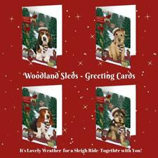 Christmas Woodland Sled Dog Cat Pet Lovers Greeting Invitation Card Pack of 10