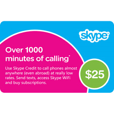 Skype Credit 1000 Minute Voucher Worth $27.69 Email or Message Instant Delivery