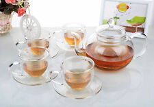 Tea Set - 900ml Heat Resistant Glass Teapot + 4x Double Wall Cups & Saucers Set