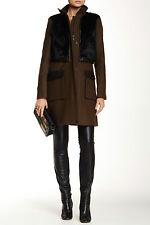 $1.2K Andrew Marc Wool/Leather/Rabbit Fur Coat & Vest OLIVE Black Sz 12 NWT CHIC