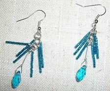 Blue iridescent beads with large dangle blue prism bead pierced earrings 201