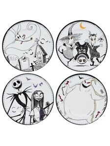 Nightmare Before Christmas Dinner Set Set of 4 Plates Jack & Sally White 25x25cm