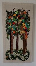 Rare Erica Wilson Style Vintage Birds In Tree Woodland Crewel Completed framed