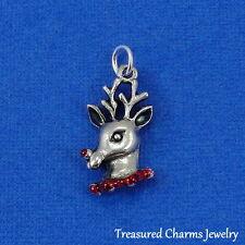 Silver REINDEER HEAD CHARM Rudolph Christmas PENDANT