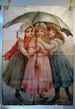 Ltd Edition TEA ASCIUGAMANO W ORIG immagine FR un Vict greeting card della 3 ragazze W OMBRELLO
