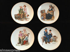 "Lot of 4 Norman Rockwell Plates, 6-1/2"", Lighthouse, Memories, Toymaker, Cobbler"