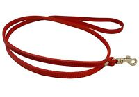 """Small XSmall Real Leather Dog Leash 45"""" long 3/8"""" wide Red"""