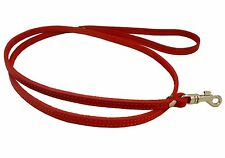 "Small XSmall Real Leather Dog Leash 45"" long 3/8"" wide Red"