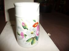 #1228 vtg antique white porcelain hand painted flowers creamer pitcher 5'' tall