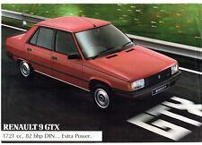 Renault 9 GTX 1.7 1984 UK Market Leaflet Sales Brochure