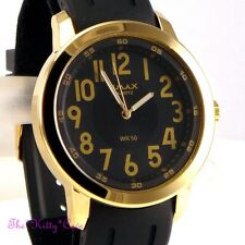 OMAX Waterproof 5ATM Stainless Steel Chunky Gold Plate Gents Rubber Watch BTL021