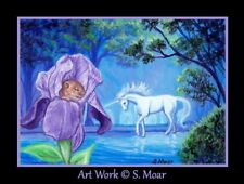 Mouse Mice Unicorn Horse Iris Flower Forest ACEO Limited Edition Art Print