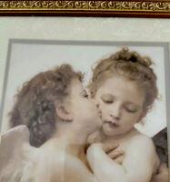 """""""First Kiss"""" AdolpheWilliam Bouguereau Framed Art Print Painting Cherubs Angels"""