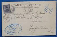 France oblitéré, n°103, 10c noir sur lilas, Sage type 1, 1898, sur carte postale