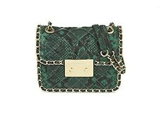NWT MICHAEL KORS CARINE Python Embossed Leather Shoulder Bag Pametto Green $368