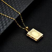 EG_ Unisex Gold Plated Islamic ALLAH Quran Box Photo Locket Pendant Necklace Fan