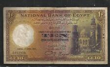 EGYPT National Bank Of Egypt 10 POUNDS  NIXON I ,1945,PREFIX # X/100