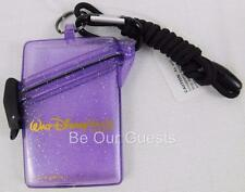 Walt Disney World Parks WaterProof Card Money Holder Purple Glitter Small New