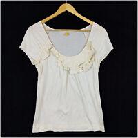 Leifsdottir S Anthropologie Women's Top Short Sleeve White Cotton Scoop Neck