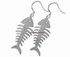 chapado en rodio plata 925 HAWÁI fish bone Pendientes de gancho Circonita Cúbica