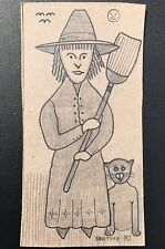Pennsylvania Outsider Artist Jack Savitsky Drawing. Witch Broom & Cat. Signed 82
