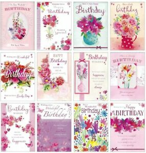 12 x Female Birthday Cards - Open Multipack Mix Pack Flowers Lady Floral Glitter