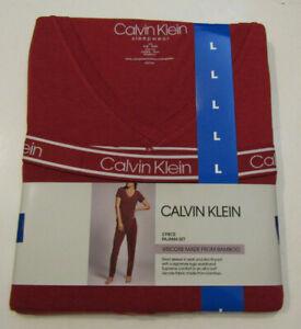 CALVIN KLEIN Womens Bamboo Pajamas Set Red T-Shirt Pants Sz Medium M NWT