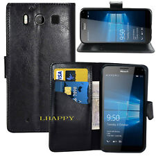 BLACK WALLET case with CARD SLOT  CASE FOR Microsoft Lumia 950 UK FAST FREE POST