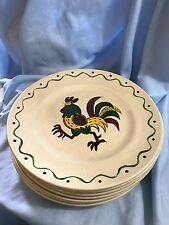"Vtg Metlox Poppytrail GREEN Rooster California Provincial 10"" Dinner Plate Dish"