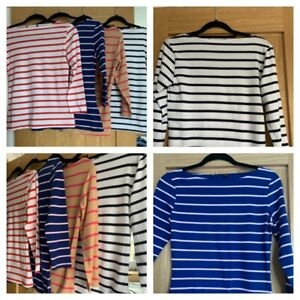 MARKS AND SPENCER COLLECTION Ladies 3/4 Sleeve Boat Neck Stripe Top - Sizes 6-24