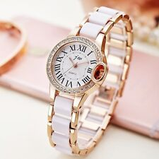 Rose Gold Plated Ceramic Band Stylish Women`s Dress Quartz Wrist Watches