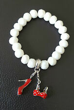 THOMAS SABO~CHARM CLUB~WHITE BRACELET + 2 RED ENAMEL CHARMS~SHOE & BIKINI TOP