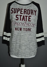 SUPERDRY Women's Grey Black T- Shirt Top Blouse S / Small Cotton Viscose