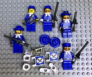 5 LEGO Civil War Union Army Mini-Figures with Weapons and Bugle, + extra parts