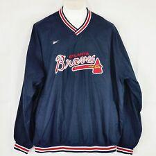 Vintage Reebook Baseball Atlanta Braves Mens Pullover XXL Blue Long Sleeve Lined