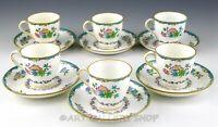 Vintage Minton England B937 FLORAL DEMITASSE CUPS AND SAUCERS Set of 6
