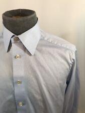 Eton Mens Button Front Dress Shirt Solid Blue 16 41 Contemporary Fit