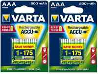 8x Akku AAA Micro Varta Rechargeable Accu 800 mAh NiMH 56703 HR03 2x 4er Blister