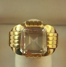 Mid Century Men's 10 k Y Gold White Quartz Solitaire Ring Sz.10.5. w  5.4 Grms