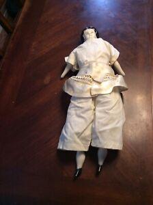 17 Inch Antique China Doll Split Hair Little Black Feet Redone Body