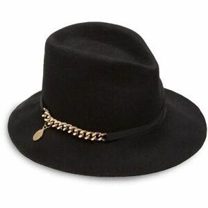 Stella McCartney Falabella Womens Wool Felt Fedora / Hat Msrp $450.00 Black/Gold