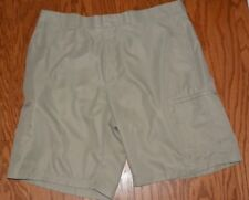 Mens Top Flite Tan Khaki Beige Polyester Flat Front Cargo Style Golf Shorts 38