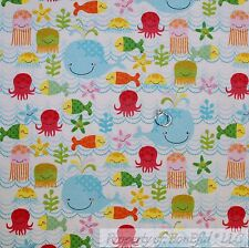 BonEful Fabric FQ Cotton Flannel Quilt White Blue Sea Water Fish Ocean Beach Boy