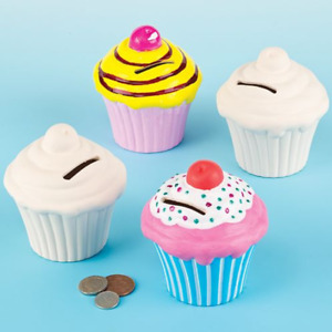 DIY Paint Your Own Ceramic Cupcake Coin Bank Money Box with Stopper 10cm Tall