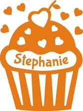 Door Wall Art Personalised Name Sticker on Cupcake Heart Vinyl Bedroom Signs kid