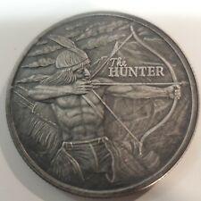 1oz 999 Fine Silver Round The Hunter Unique Antique Finish Buffalo Bow Hunter 😎
