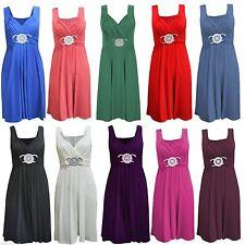 V Neck Skater Patternless Plus Size Dresses for Women