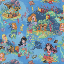 Mermaids on Blue Coral Shells Seahorses Ocean Girls Quilting Fabric FQ or Metre