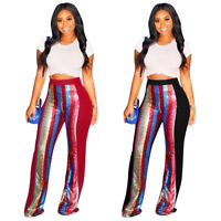 Winter Women Casual Club Party Sequins Stripes Patchwork Long Pants Trousers